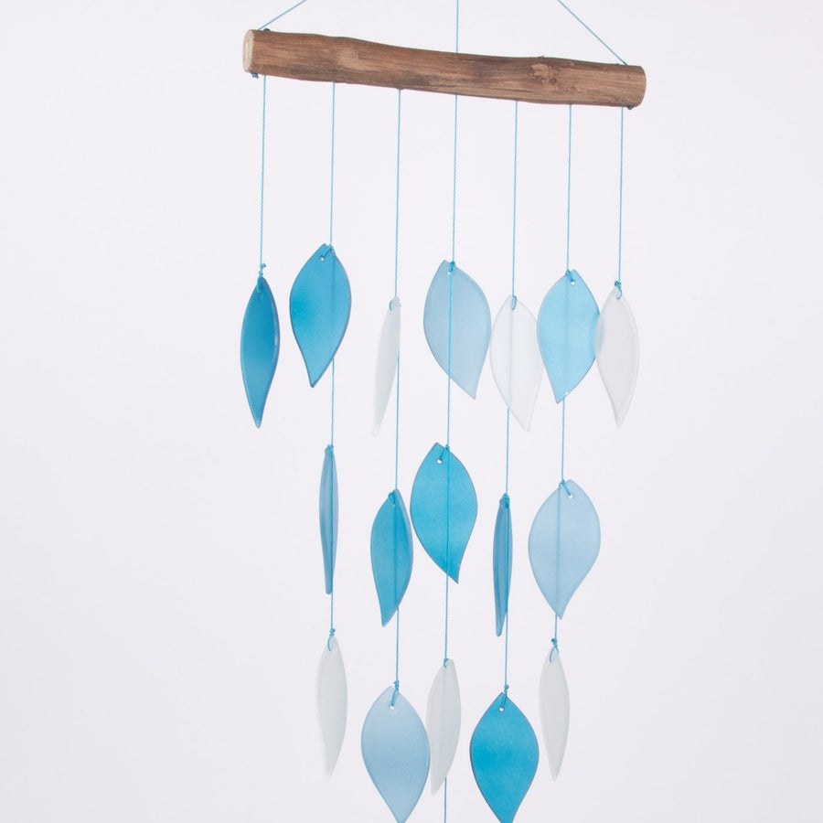 Blue Glass Leaves Waterfall Wind Chimes
