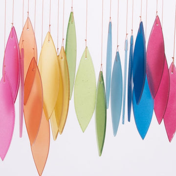 Frosted Rainbow Leaves Glass Wind Chimes