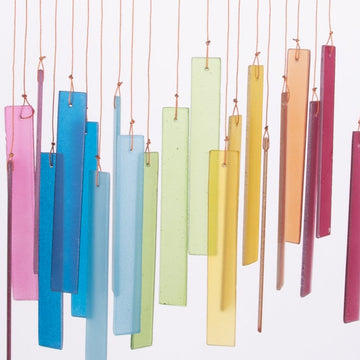 Rainbow Glass & Driftwood Wind Chimes