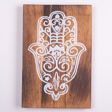 Rustic Plaque - Hand of Fatima & Hamsa