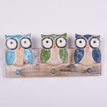 Painted Owl Coat Rack