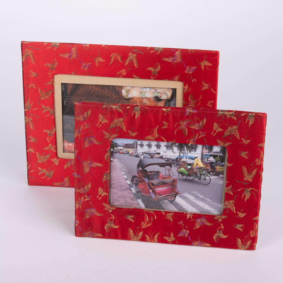 Red Butterfly Satin Photo Frame