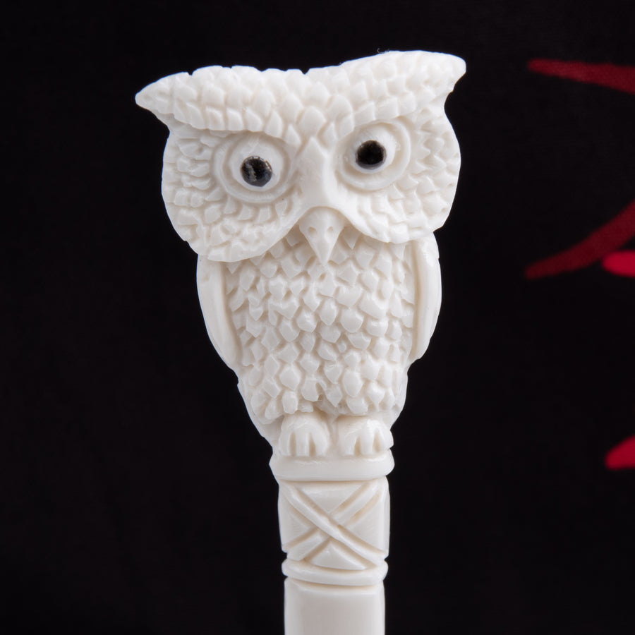 Front side of the Owl Hair Stick