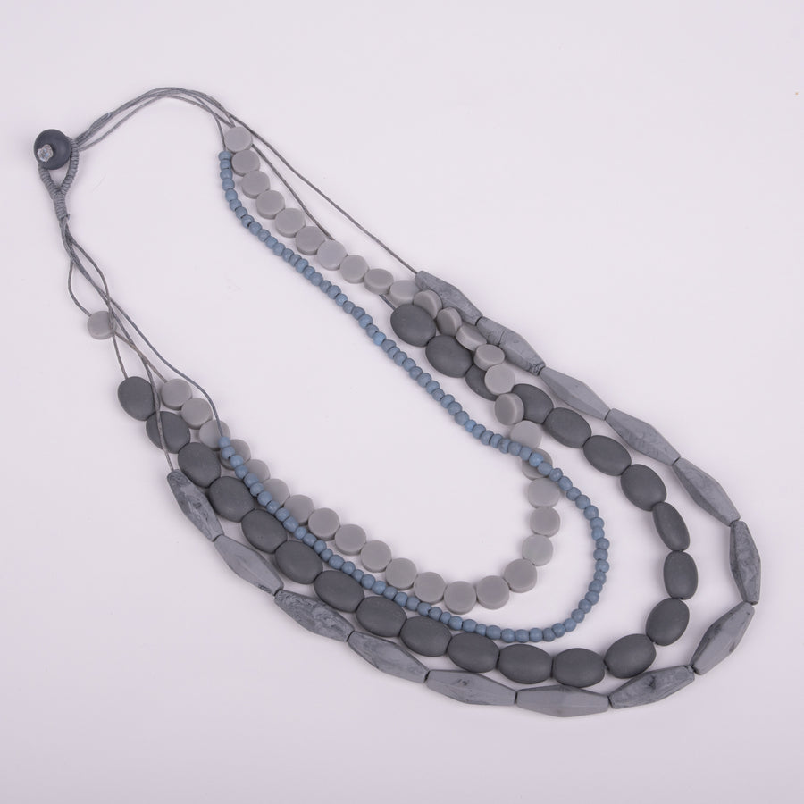 Multi-strand Gray Resin & Glass Necklace