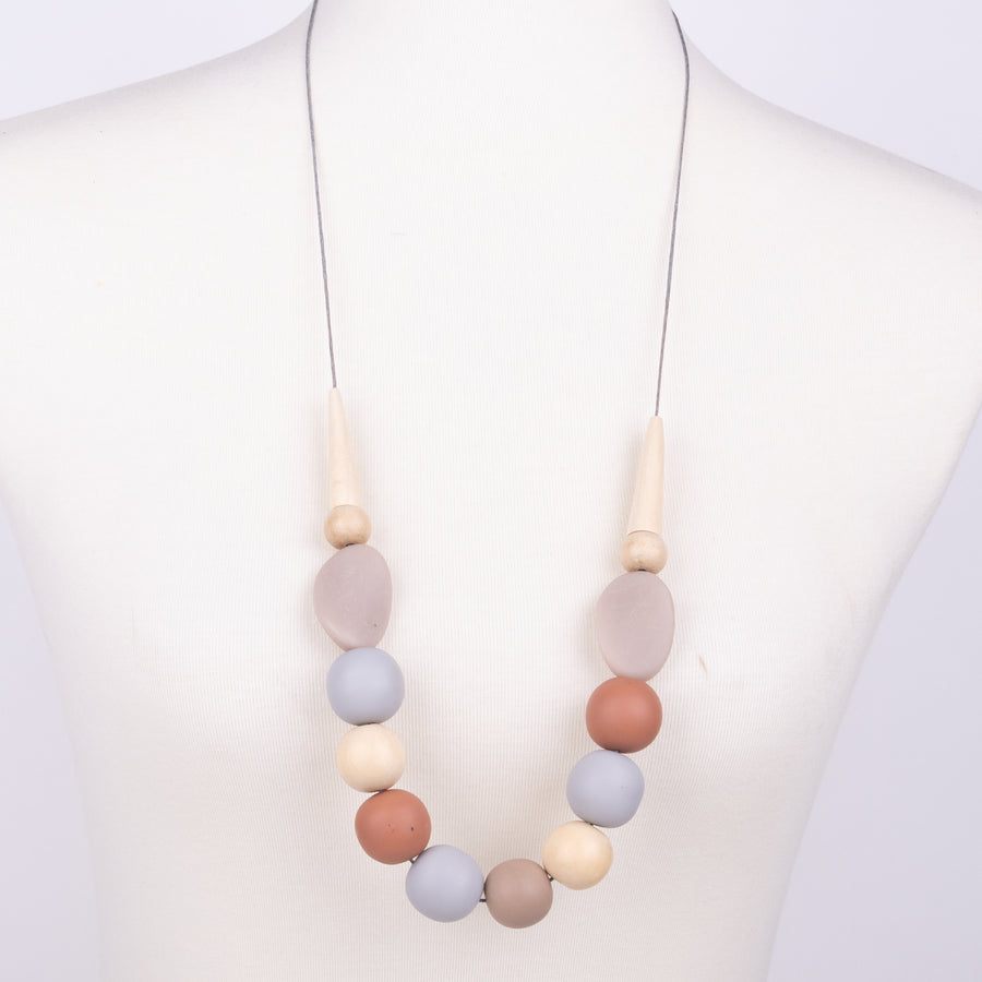 Adjustable Necklace of Soft Earthen Colored Resin Beads