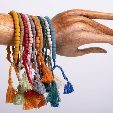 Simplicity Glass Bead Bracelet with Tassels