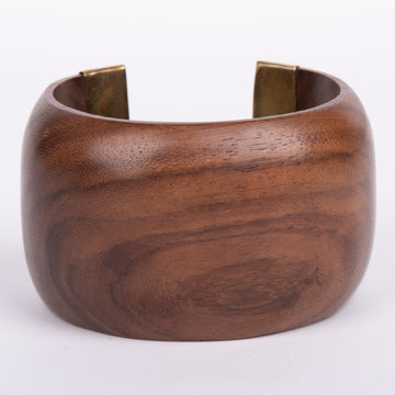Polished Wood Cuff with Brass Accents