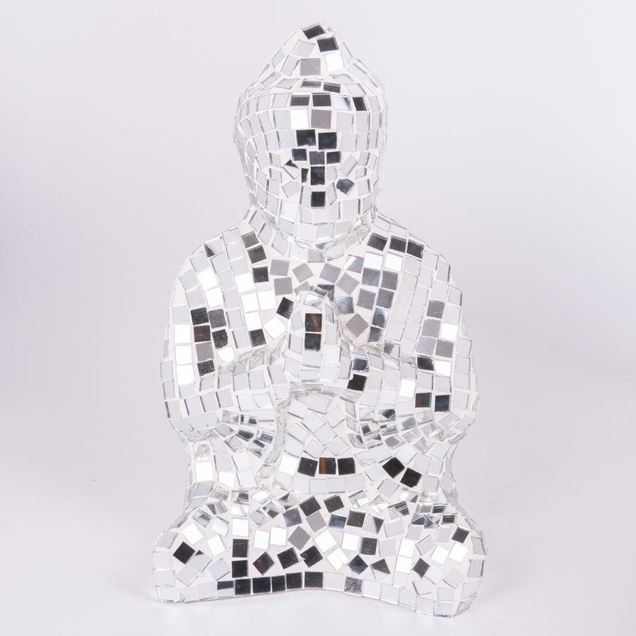 Mosaic Glass Buddha In Prayer Sculpture