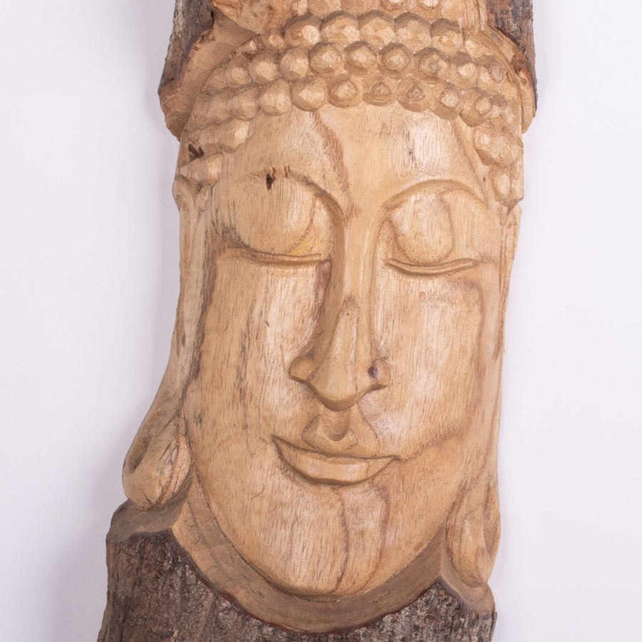 Carved Buddha in the Tree Trunk Mask
