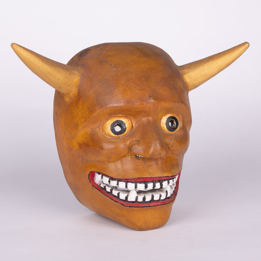 Carved Wooden Devil Mask with Horns