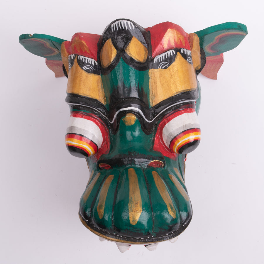 Carved Garuda in Green Wall Decor Mask