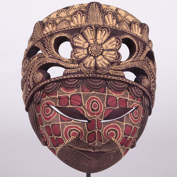 Batik Wooden Mask Large Carved Flower
