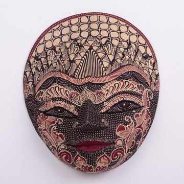 Batik Wooden Mask Small Round Top