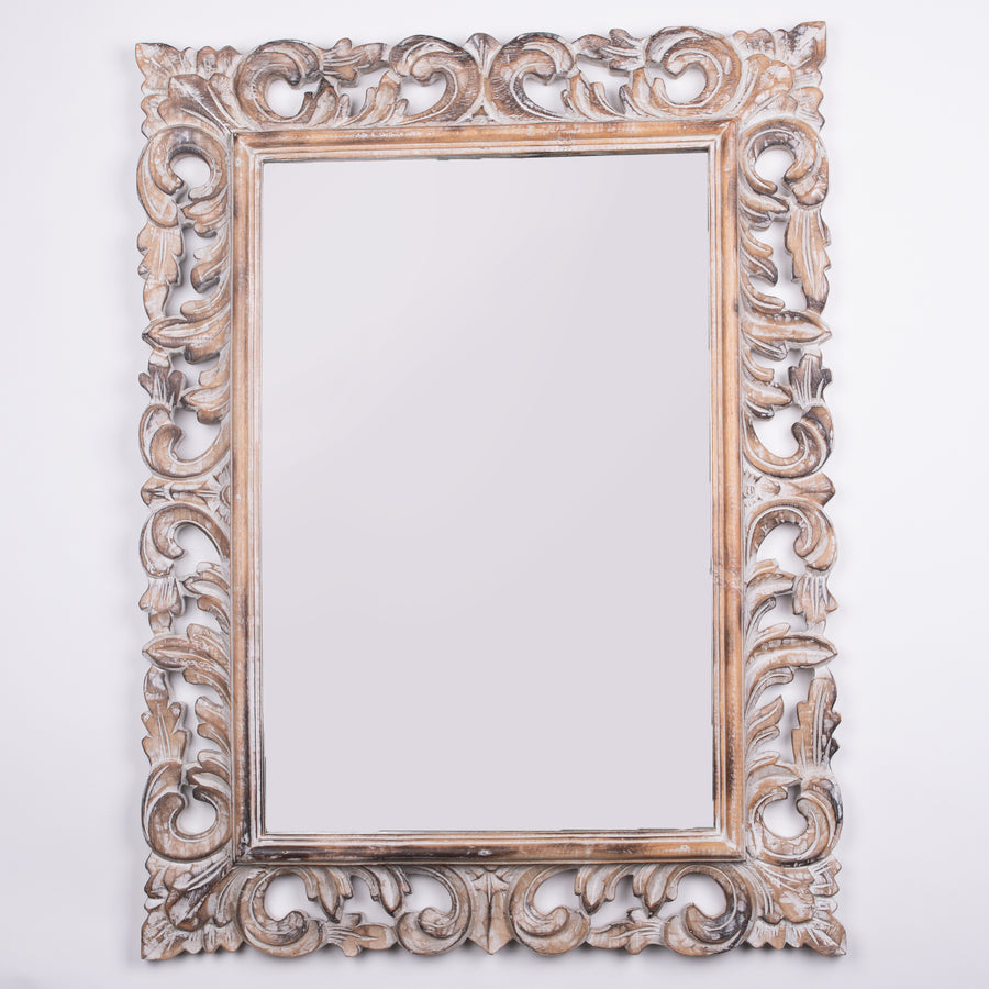 Large Hand Carved Antique White MIrror