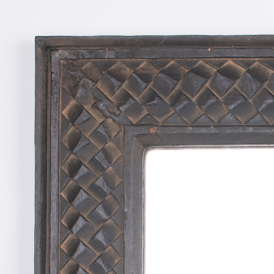 Large Hand Carved Woven Wood Mirror