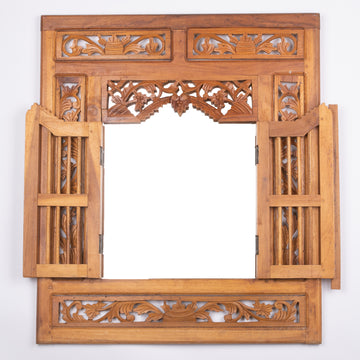 Carved Balinese Window Mirror