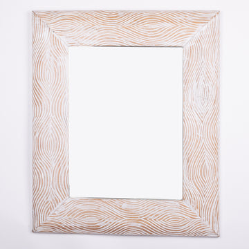 Modern Carved White Washed Mirror
