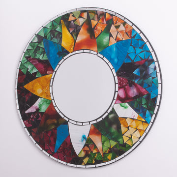 Mosaic Rainbow Sun Round Mirror Medium