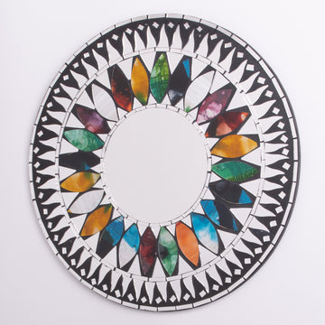 Mosaic Flower Power Round Mirror Medium