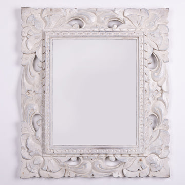 Rustic & Ornate Carved Wood Mirror