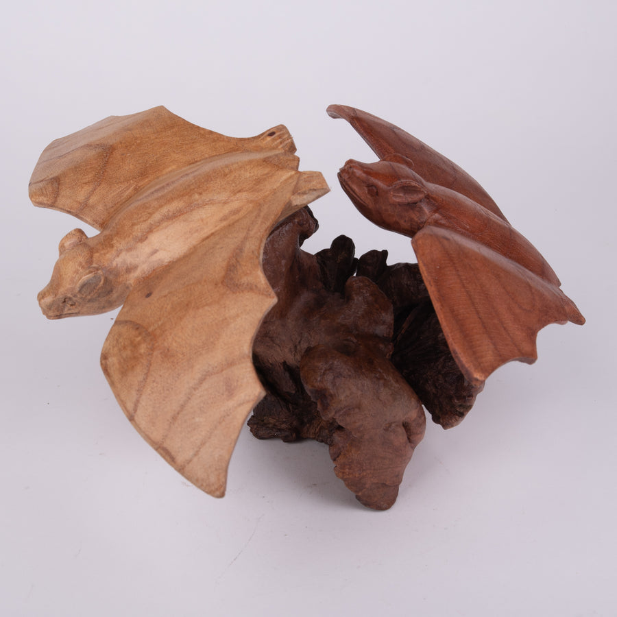 Parasite Wood Carving of Bats in Flight