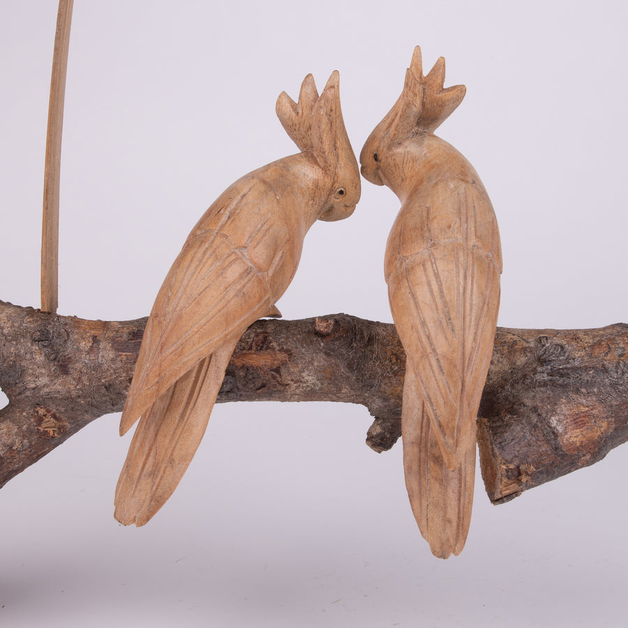 Parasite Wood Carving Cockatoo Birds on a Swing