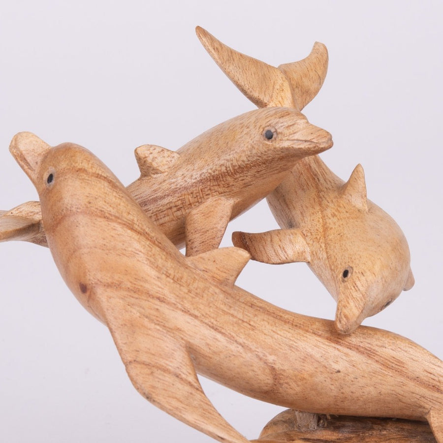 Parasite Wood Dolphin Carving with Babies