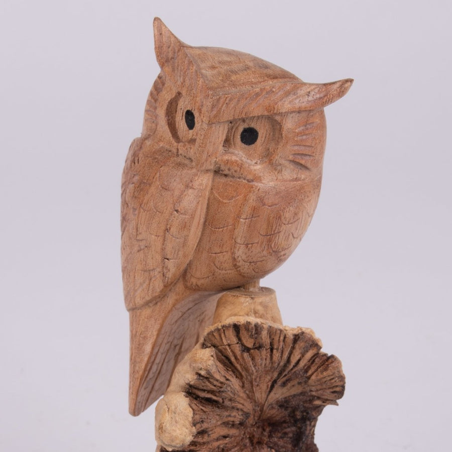 Parasite Wood Perched Owl Carving