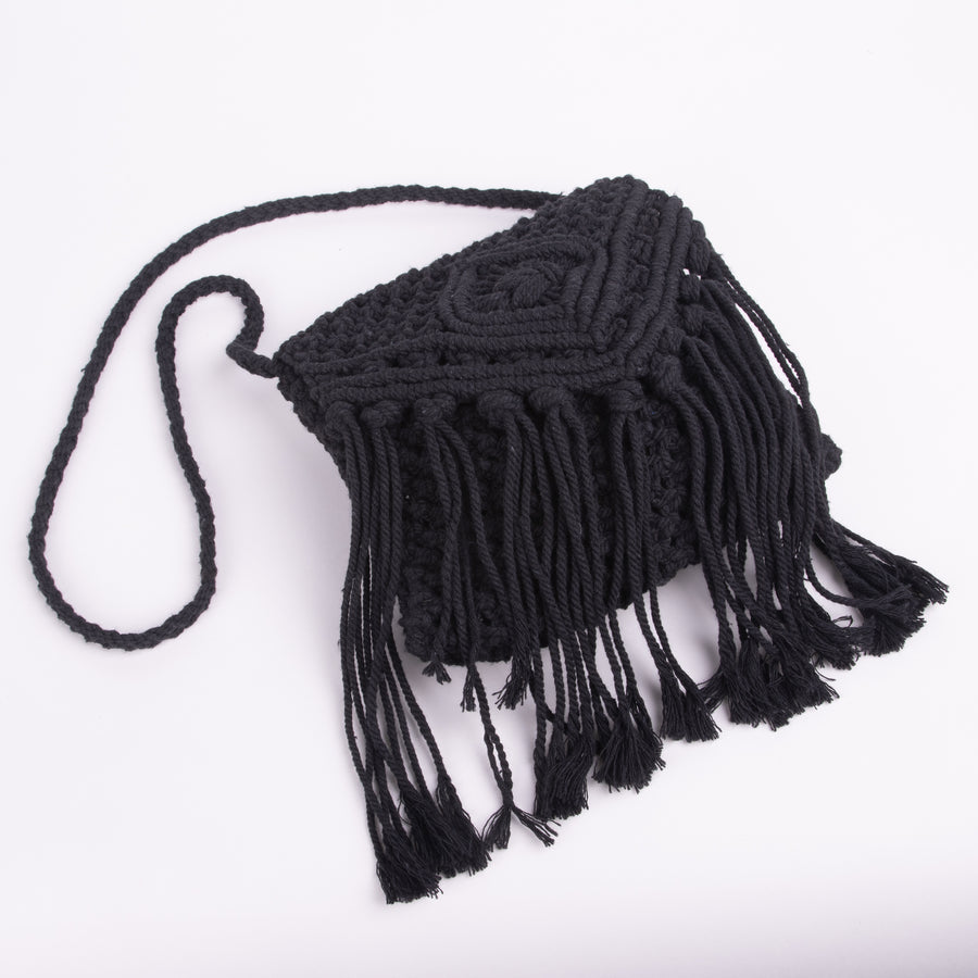 Macrame Small Black Purse With Flap And Fringe