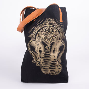 Ganesha Black Canvas Tote with Leather Straps