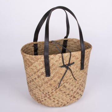 Large Woven Beach Basket with Leather Straps