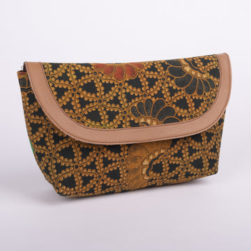 Batik Clutch Trimmed in Faux Leather