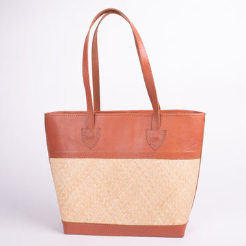 Leather and Rattan Weave Stylish Purse