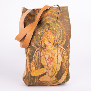 Shiva on Burlap with Leather Straps Tote