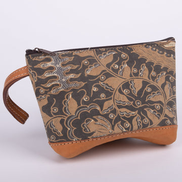 Batik Clutch Trimmed in Leather