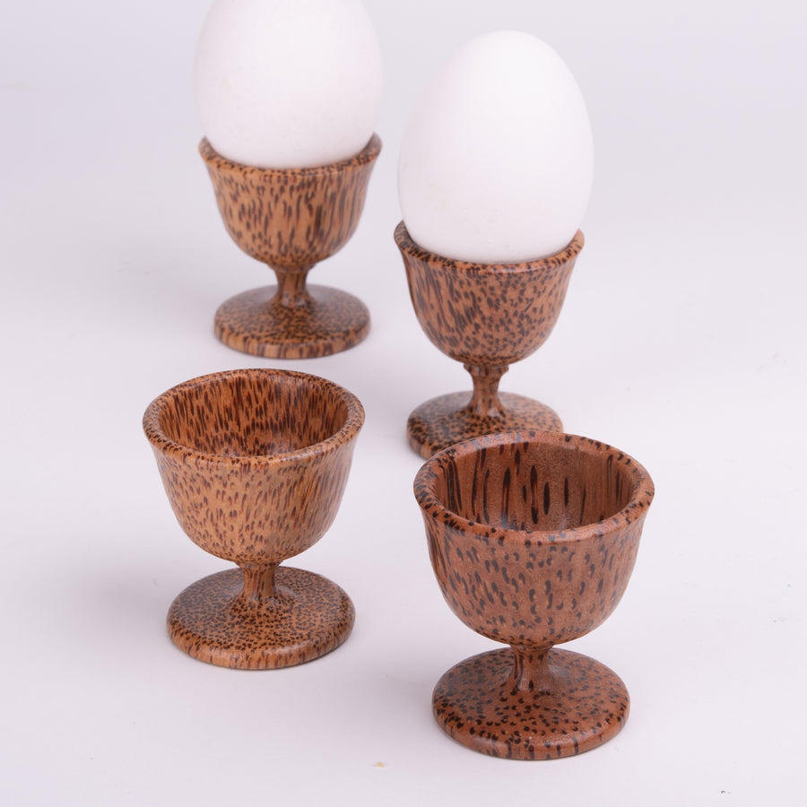 Wooden Egg Cup Pairs on Pedestals