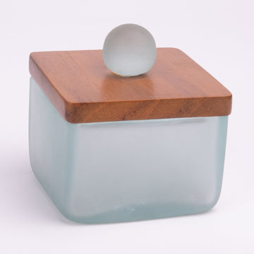 Contemporary Frosted Glass & Wood Sugar Bowl
