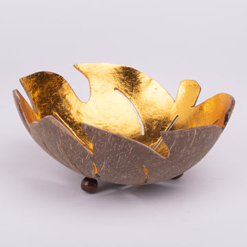 Golden Leaf Decorative Cut Bowl