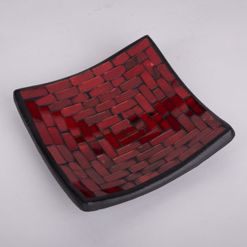 Mosaic Small Square Bold Red Plate