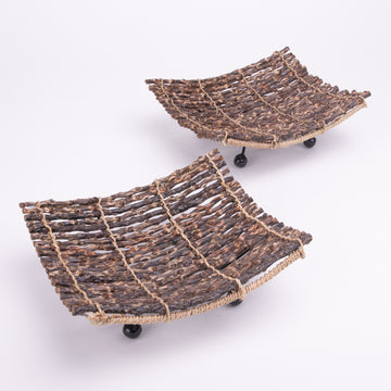 Small Square Twig Tray Set