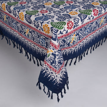 Large Batik Tablecloth - Navy & Colorful Flowers with Matching Napkins