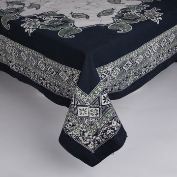 Large Deep Green & Cream Batik Tablecloth with Matching Napkins