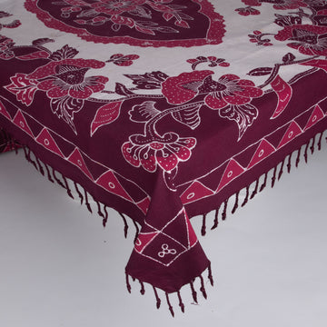 Batik Tablecloth Rectangle Maroon & White