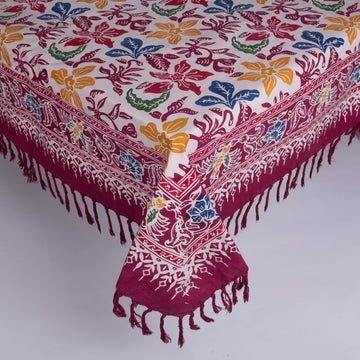Square Batik Tablecloth - Maroons & Bright Flowers