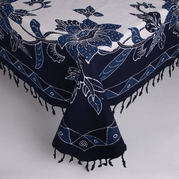 Square Batik Tablecloth - Navy, Indigo & Cream