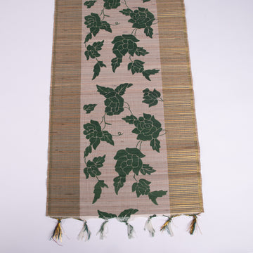 Woven Table Runner with Gold and Green Floral Accent