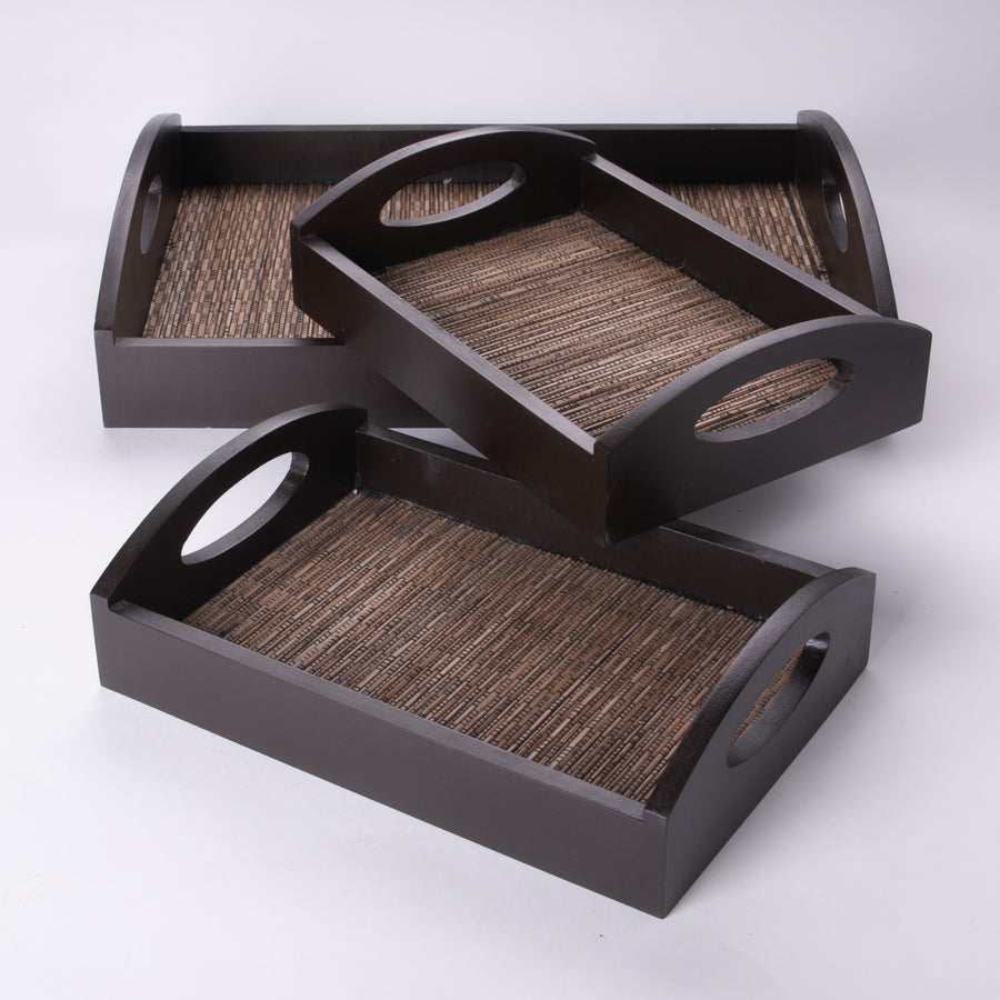 Nesting Set of 3 Trays in a Japanese Light