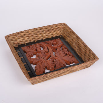 Handwoven Rattan Tray with Wooden Leaf Inset
