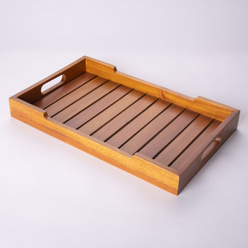 Wooden Tray with Slats & Handles Sushi-Like