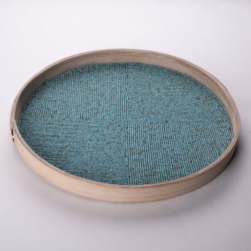 Circular Tray inlaid with Seed Beads